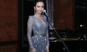 Ái Phương duyên dáng với váy bạch kim