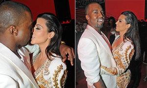 Kanye West hớn hở khi được Kim Kardashian hôn