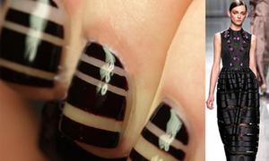 Tự sơn 'nail sọc ngang' tại nhà