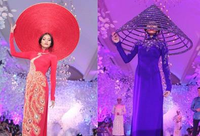 Trương Thị May với áo dài cưới, khăn đóng lạ