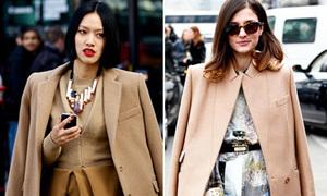 Áo khoác màu camel rộ khắp thời trang đường phố