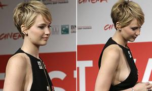 Jennifer Lawrence lấp ló khoe vòng một