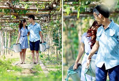Uyên ương lãng mạn ở khu vườn mùa thu