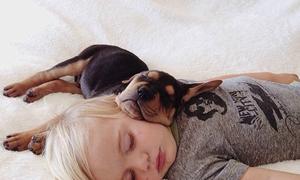 Khoảnh khắc siêu cute của bé và cún cưng