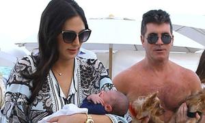 Simon Cowell đưa con trai 1 tuần tuổi đi hóng gió biển