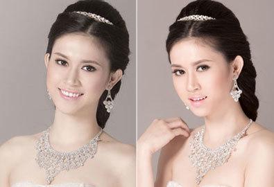 Làm tóc cô dâu với hoa hậu ảnh Triều Thu