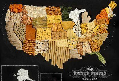Ngon mắt tấm bản đồ thế giới làm từ thức ăn