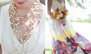 Váy cưới họa tiết hoa ngọt ngào