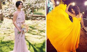 Váy cô dâu rực rỡ màu sắc phá cách