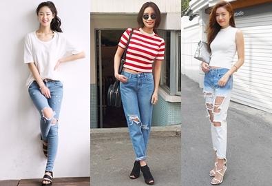 Mix jeans rách đa phong cách cho nàng