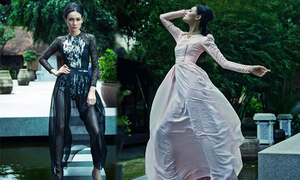 Thùy Trang Next Top sexy với áo dài xuyên thấu