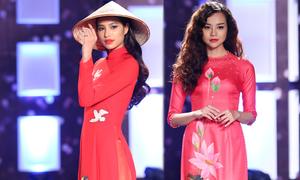 Mẫu Việt duyên dáng cùng áo dài hoa