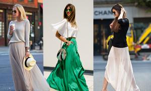 Chân váy lụa nhẹ nhàng cho mùa nắng