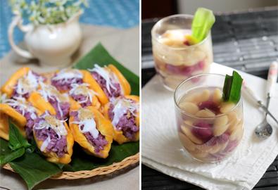 Các món ăn có màu tím đẹp mắt nhờ lá cẩm