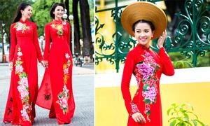 Người đẹp diện áo dài cưới màu đỏ họa tiết hoa rực rỡ