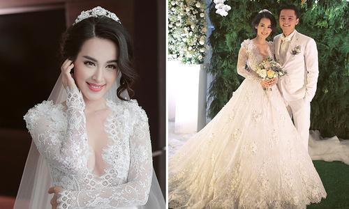 Tú Vi diện 3 váy cưới công chúa trong hôn lễ