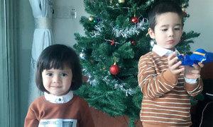 Hai em bé của thầy Giôm dễ thương bên cây thông Noel