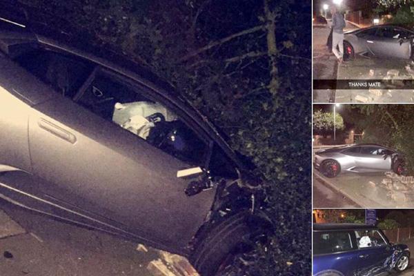 Hiện trường tai nạn khi xe của Sakho đâm vào một chiếc Mini xanh