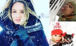 Các sao Hollywood can đảm đi chơi giữa bão tuyết