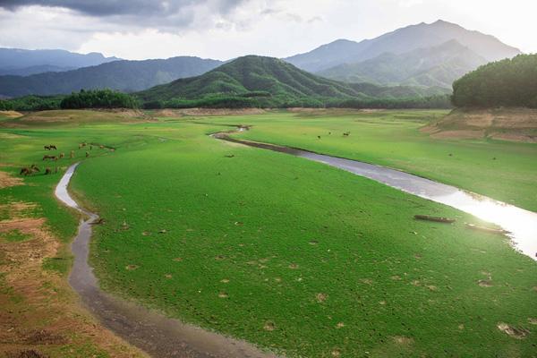 Vào những ngày nước cạn, khu vực ven hồ trở nên rộng lớn, như một thảo nguyên bao la, êm ả.