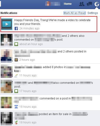 Tính năng 'ngày tình bạn' được thông báo tới người dùng dưới dạng trên.