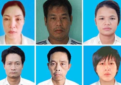 """Nguyễn Thị Huệ (trên cùng, bên trái) và đám ong ve bị bắt trong vụ án ma túy """"khủng"""" năm 2012."""
