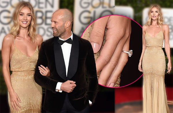 Rosie Huntington-Whiteley and Jason Statham - $350,000  When the English rose walked the red carpet with her actor love at last month's Golden Globes, the brand-new sparkler on her ring finger stole the show.  Featuring a vintage diamond set among smaller stones, it glittered as much as the model's Atelier Versace gown.