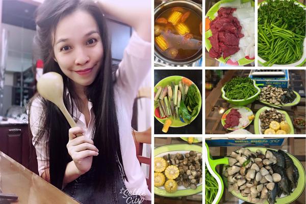 Hiền Thục trổ tài nấu nướng