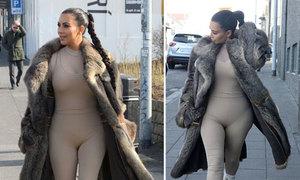 Kim Kardashian khoe đường cong với bodysuit mỏng dính