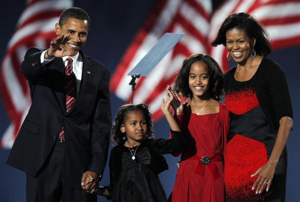 Then President-elect Senator Barack Obama arrives to speak to supporters with his wife Michelle and their children Malia and Sasha during his election night rally after being declared the winner of the 2008 U.S. Presidential Campaign in Chicago November 4, 2008.