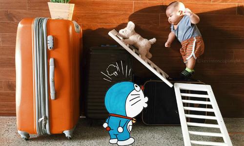 Bố 8x Sài Gòn chụp ảnh con trai với Doremon 'siêu' đáng yêu