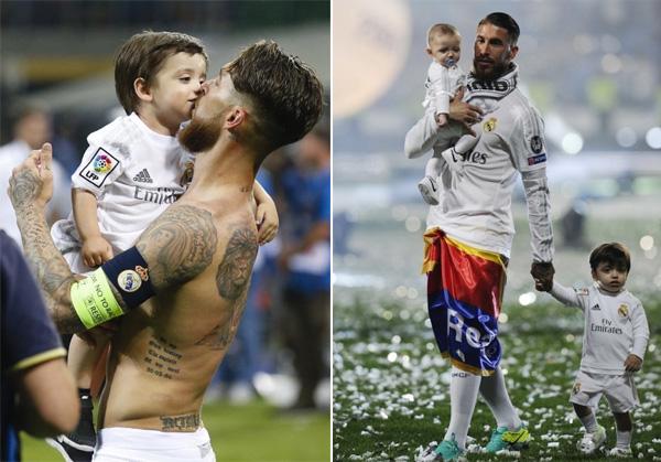 Sergio Ramos và hai cậu nhóc đáng yêu.