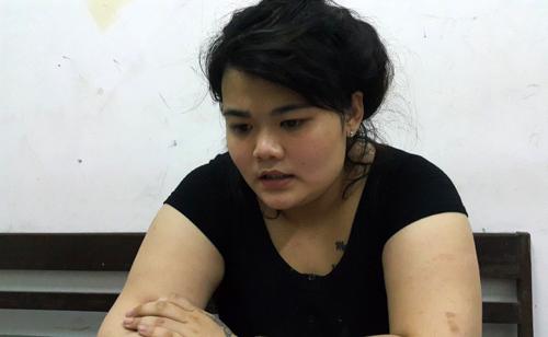 Trần Thị Hà Phương tại cơ quan điều tra. Ảnh: Phương Linh.
