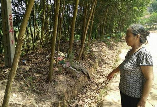 Bà Trần Thị Lại (nhân chứng phát hiện thi thể bé gái) chưa hết bàng hoàng khi kể lại sự việc.