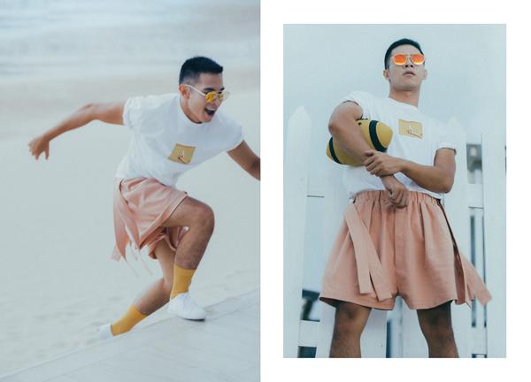 Nam diễn viên không ngại thử nghiệm những xu hướng thời trang mới, đơn cử như mẫu quần short xoè rộng như váy ngắn của nữ giới.