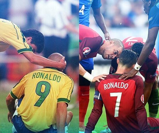 Hai Ronaldo cùng chung cảnh ngộ trong trận chung kết trên sân Stade de France với chủ nhà Pháp