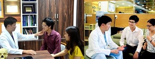 Hình ảnh Thục trước (trái) và sau (phải) được TS. BS. Nguyễn Phan Tú Dung nhận định là có thay đổi tích cực