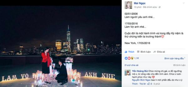 [Caption]Mới đây, trên trang cá nhân, cô gái thời tiết Mai Ngọc đã hạnh phúc đăng tải hình ảnh trong màn cầu hôn đầy ngọt ngào của bạn trai dành cho mình trên đất Mỹ.