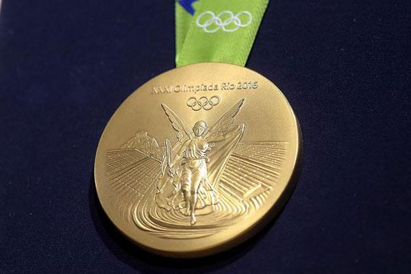 Một mặt của tấm HC vàng tại Olympic Rio.