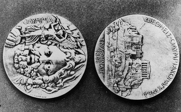 Hai mặt của tấm huy chương Olympic Athens 1896, Olympic hiện đại đầu tiên.