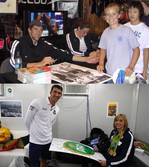 Michael Phelps và đàn em Katie Ledecky 10 năm trước (ảnh trên) và hiện tại.