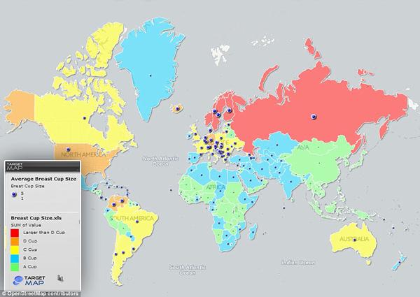 Bản đồ size ngực của phụ nữ vòng quanh thế giới do Target Map giới thiệu.