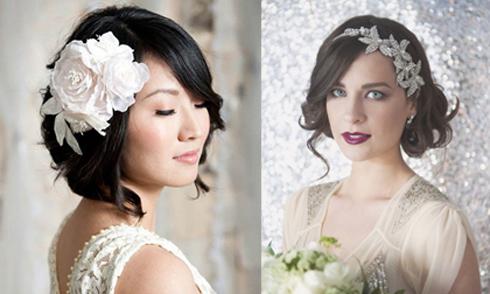 Những kiểu tóc đẹp rạng ngời cho cô dâu tóc ngắn