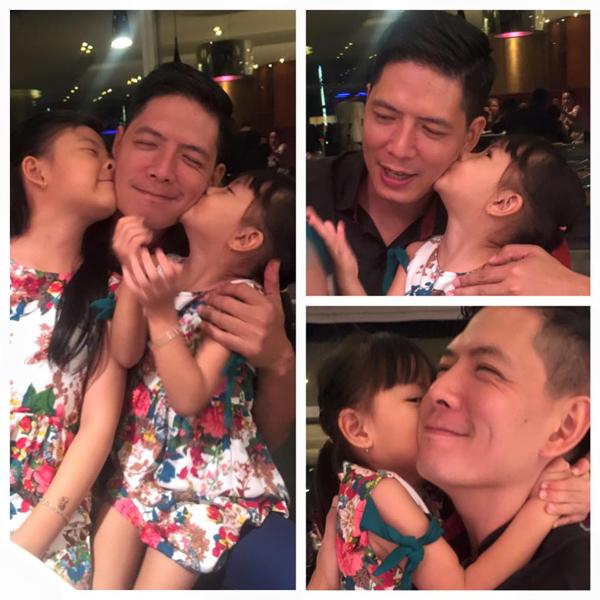 Diễn viên Bình Minh hạnh phúc khi được hai cô công chúa nhỏ hôn má, anh tự hào chia sẻ: Hết mệt luôn.