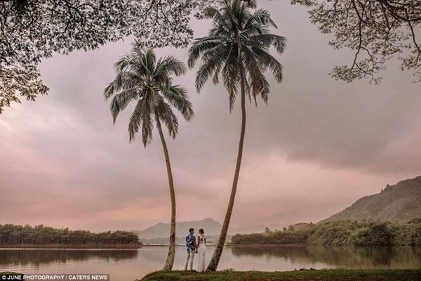 [Caption]hoàng hôn ơ Kaneoha, Oahu, đảo Hawaii.