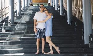 Vợ chồng Hà Tăng ôm nhau tình cảm khi đi du lịch