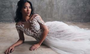 Bằng Lăng khoe da nâu ấn tượng với váy cưới trắng tinh tế