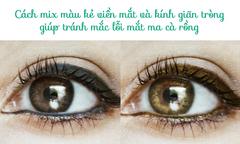 5 cách kết hợp chuẩn màu kính giãn tròng và kẻ viền mắt