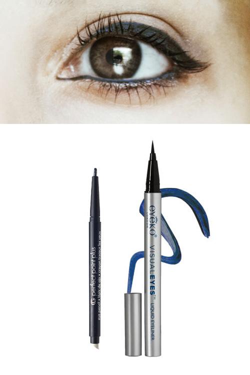 Lens nâu - Eyeliner xanh navy