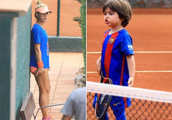 Người đẹp và con trai đầu lòng Milan vui vẻ chơi tennis cuối tuần qua.